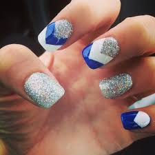 Pretty Nail Designs And Colors Acrylics For Graduation Using School Colors Blue And White