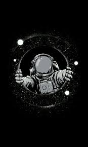 black and white astronaut. art print featuring black hole by carbine and white astronaut d