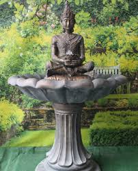 large buddha garden fountain feature in bronze