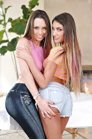 Lesbians in short shorts pussy humping