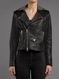voisin black leather studded biker jacket