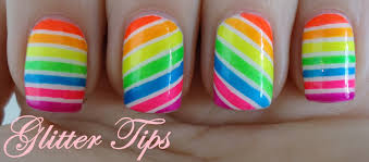 Glitter Tips: Neon Candy Stripes - Nail Art