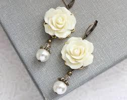 Rose Earrings <b>Dusty Rose</b> Pink Pearl Drop Floral by apocketofposies