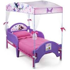 Details about Minnie Mouse Plastic Toddler Canopy Bed Kids Bedroom Furniture Home Girls Beds