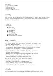 1 Food Inspector Resume Templates Try Them Now Myperfectresume