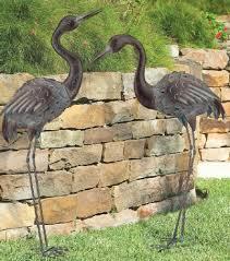 Bronze Crane Pair Metal Garden Statues Mystical Bird Yard Art Heron  Sculpture