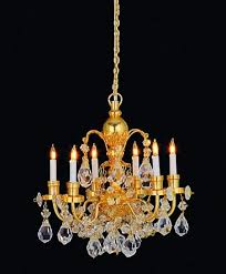 melody jane dolls house 6 arm real crystal chandelier gold finish mini light