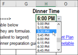 Excel Holiday Dinner Planner