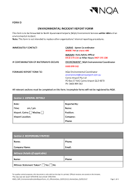 To Environmental Incident Report Form D