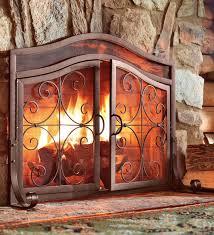 nice fireplace screens with doors