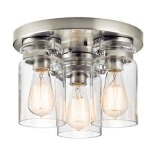 Ceiling Light Fixtures Brushed Nickel Brinley 3 Light Flush Ceiling Light In Brushed Nickel With Clear Glass Shades