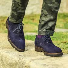 handmade mens blue full brogue wingtip suede shoes men digger sole leather shoe handmade shoes