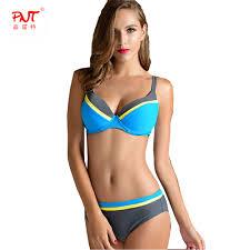 Designer Plus Size Swimwear Pnt027 Summer Women Sexy Push Up Bikini Set High Waist Underwire Plus Size Swimsuit Hit The Color Designer Mature Biquinis