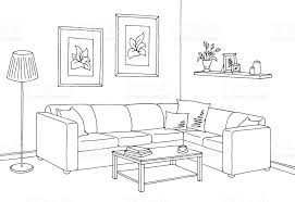 living room clipart black and white. living room graphic black white interior sketch vector art clipart and i