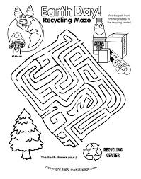Earth Day Recycling Maze Activity Sheet Free Coloring Pages For