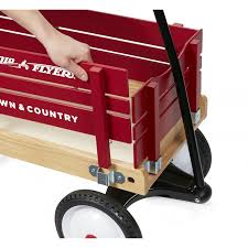 removable wooden sides red wooden wagon