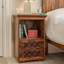 Sheesham Bedroom Furniture Wooden Bedside Crafted In Solid Sheesham Indian Rosewood
