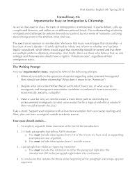 Example Of An Argumentative Essay Sample Argumentative Essay On Immigration Templates At
