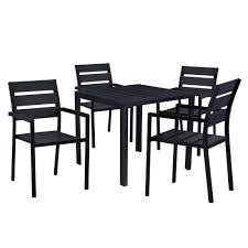 internet 304944218 modern contemporary 5 piece black metal square outdoor dining set with faux wood