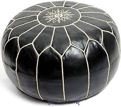 Stuffed Moroccan Ottoman <b>Black</b>/White Leather <b>Pouf Handmade</b> ...