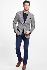 grey jacket navy trousers brooks brothers