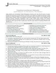 Project Manager Resume Sample Pdf Example Construction Template