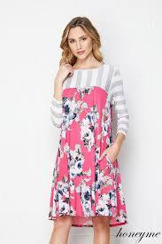Honeyme Size Chart New Pink Blue Honeyme Floral Sharkbite Dress Size S M L