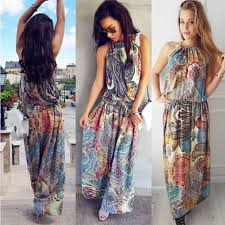 new arrival countryside cal dress sleeveless boho summer long maxi clothes wear halter chic dress for las