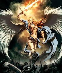 bath kol fire sword angel ilration fantasy art