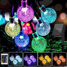 16 colors globe solar string lights