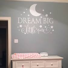 dream big little one quotes wall decal nursery wall sticker baby nursery bedroom art decor kids wall sticker stars wall decals in wall stickers from home  on wall decal quotes for nursery with dream big little one quotes wall decal nursery wall sticker baby