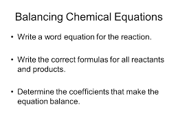 balancing chemical equations write a word equation for the reaction