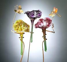 blown glass flowers with long stems thank you hand solar flower garden stake