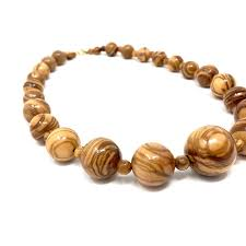 necklace made of genuine olive wood beads handmade wooden jewelry han 19 95