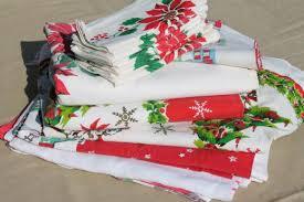 holiday cloth napkins.  Holiday Vintage Christmas Linens Lot Holiday Print Cotton Tablecloths U0026 Cloth  Napkins Throughout Holiday Cloth Napkins
