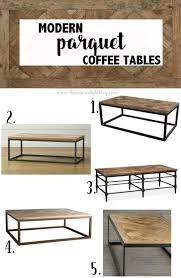 parquet wood metal coffee tables