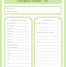 Emergency Form For Daycare Printable Emergency Contact Form Template School Ideas
