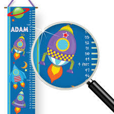 Outer Space Rocket Adventure Kids Personalized Height Growth Chart