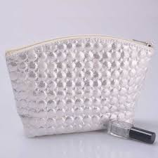 quilted cosmetic pouch whole in silver color kinmart
