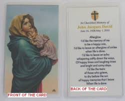 Funeral Prayer Cards Personalized Memorial Funeral Or Sympathy Prayer Cards