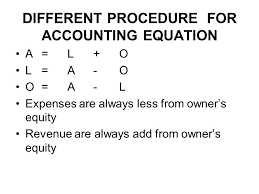 3 diffe procedure for accounting equation a l o l a o o a l expenses are always less from owner s equity revenue are always add from owner s equity