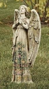 garden angel statues. Praying Angel With Ornate Rose Design Dress 24 Inch Stoneware Garden Statue Statues N