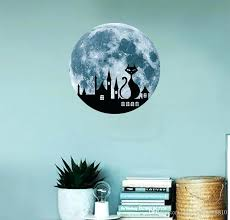gift new creative cat moon wall sticker size luminous decal novel home decoration and stars decals canada