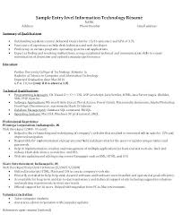 Entry Level Resume Samples Best Of Sample Entry Level Information Technology Resume Download Entry