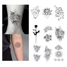 Vodotěsné Dočasné Falešné Tetování Samolepky černá Růže Květiny