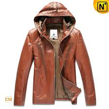 designer leather jacket men s genuine leather hooded jacket brown cw866102
