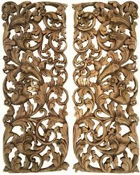 Wood Carved Wall Decor Tropical Home Decor Bali Home Decor Floral Wall Art Panel Wood