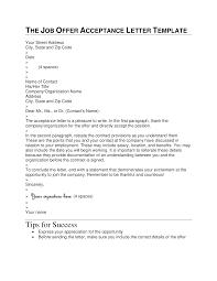 Acceptance Letter For Offer Job Offer Acceptance Letter Format Templates At