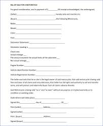 Motorcycle Bill Of Sale Form Free Printable Documents