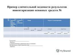 Презентация на тему Инвентаризация Инвентаризация представляет  27 Пример сличительной ведомости результатов инвентаризации основных средств